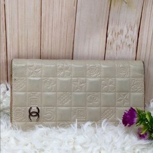 Authentic Chanel Lamb Skin Bifold  Wallet